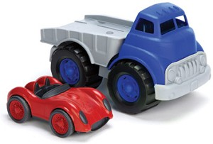 recycled flat bed truck and race car set